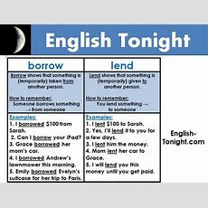 """English Tonight On Twitter """"lend Vs Borrow See Picture On How To Use Them Correctly"""