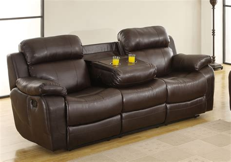 sofa with cup holders homelegance marille sofa recliner with drop cup holder