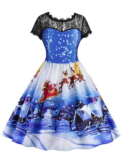color panel sleeve dress 2018 printed lace panel vintage dress blue l in