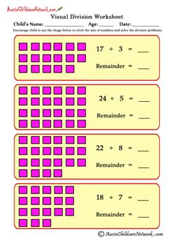 division worksheets visual visual division worksheets with remainders aussie childcare network
