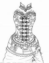 Coloring Coloriage Steampunk Fairy Adult Corset Adults Skull Printable Robes Colouring Drawing Flowing sketch template