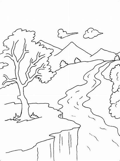 Coloring Pages River Drawing Water Scenery Mountain