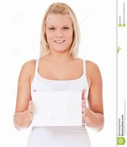 Donna In Biancheria Intima Che Tiene Segno In Bianco