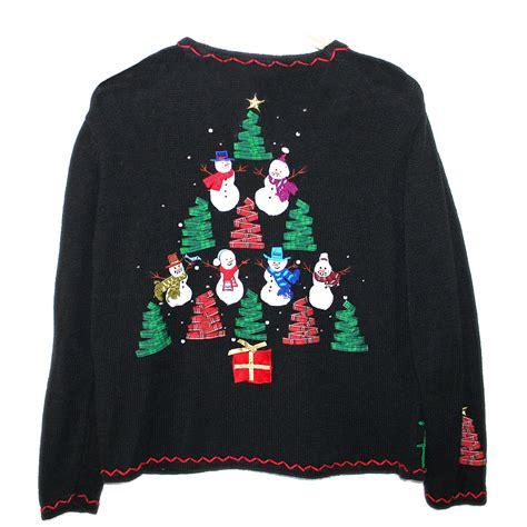 ribbon trees and snowmen tacky ugly christmas sweater
