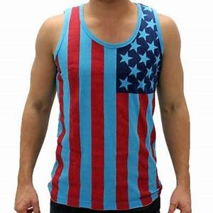 Neon Blue Red Navy American Flag Tank Top