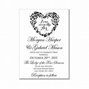 wedding invitation template love is in the air heart With blank heart wedding invitations