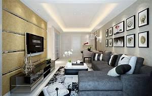 3D living room wallpaper