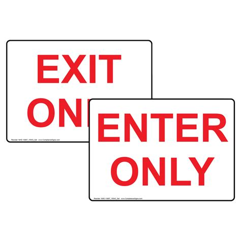 exit light enter enter only exit only sign set nhe 13887 15543 enter and