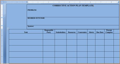 action plan template word authorizationlettersorg