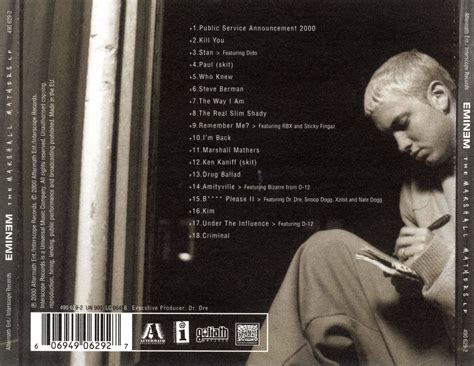 eminem curtains up tracklist eminem quot the marshall mathers lp quot basement made