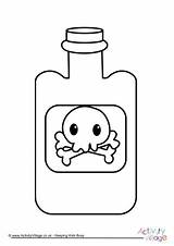 Colouring Bottle Poison Pages Halloween sketch template