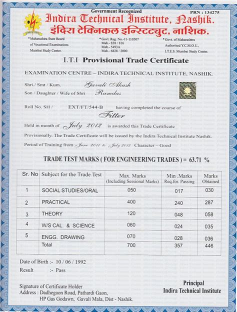 resume for iti fitter pin iti certificate on