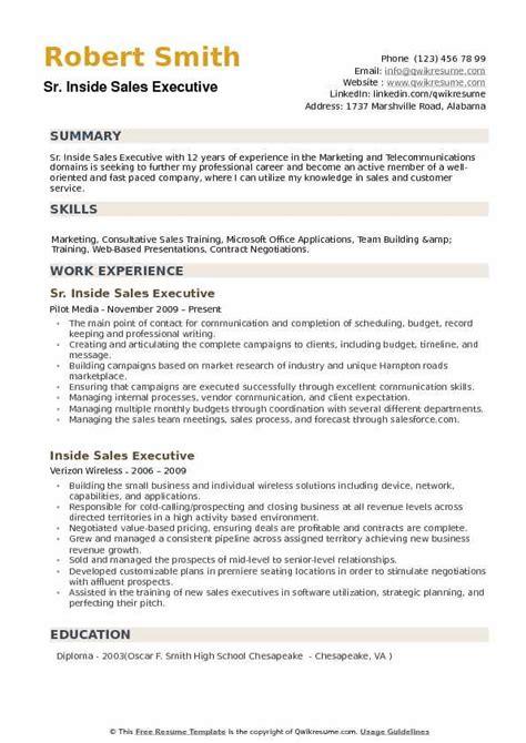 Executive Resume Sles by Inside Sales Executive Resume Sles Qwikresume