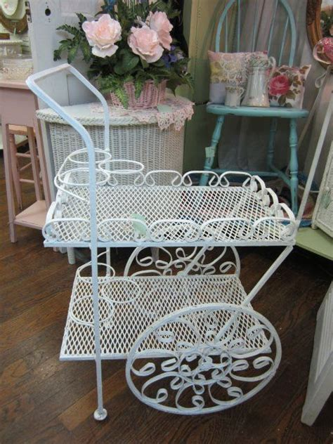 vintage wrought iron garden tea cart plantershabby