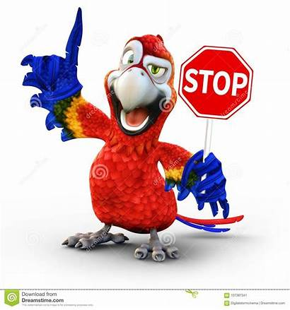 Stop Sign Holding Humorous Parrot Concept