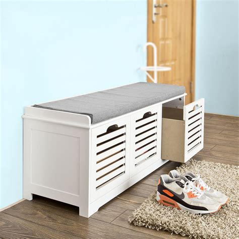 shoe storage bench sobuy storage bench with 3 drawers shoe cabinet with seat