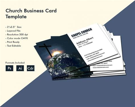 simple church business card template  premium