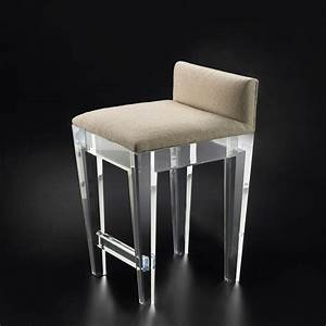 Small Ghost Counter Stool With Brown Fabric Seat And Low
