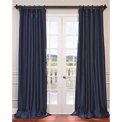 navy blue 96 x 50 inch blackout faux silk taffeta curtain
