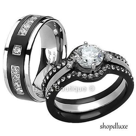 his hers 4 pc black stainless steel titanium wedding