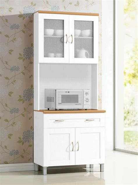 Cupboard Microwave by White Microwave Cabinet Stand Hutch Pantry Cart