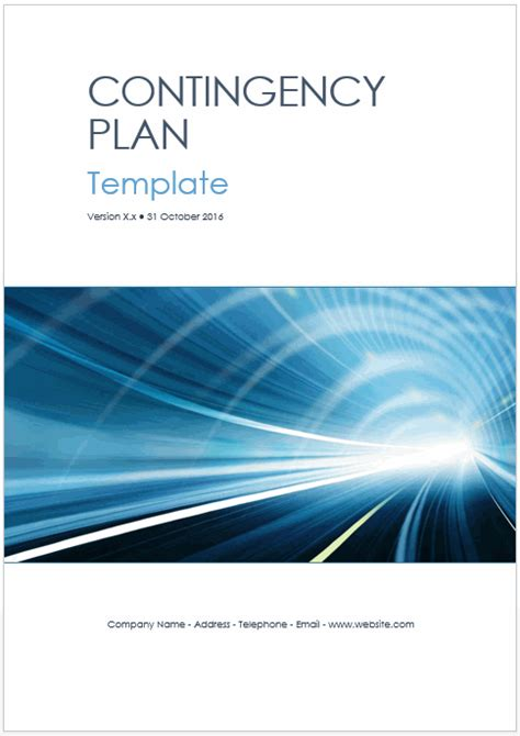 contingency operations plan template contingency plan templates ms word excel technical