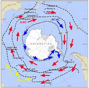Major Currents And Fronts In The Southern Ocean And