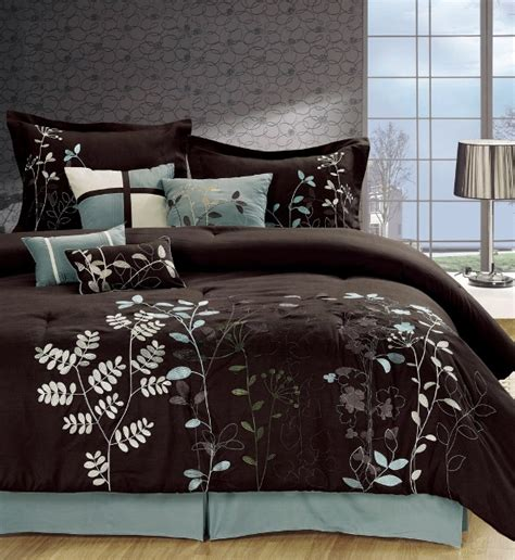 8pc chocolate brown blue leaf print comforter set queen ebay