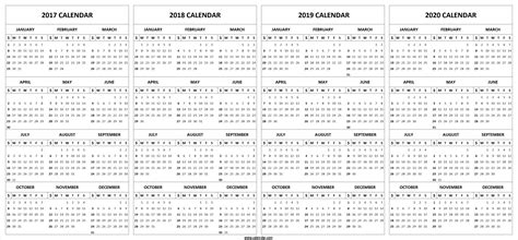 4 Four Year 2017 2018 2019 2020 Calendar Printable