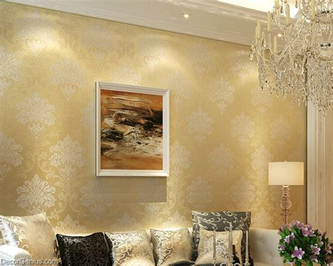 living room  flower wallpaper dark gold seasonal