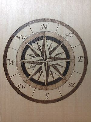 nautical compass pyrography wood burning patterns