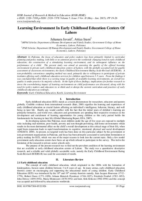 research paper on early childhood education bookcritic x 292 | learning environment in early childhood education centers of lahore 1 638