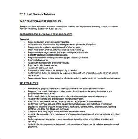 pharmacy technician description template 8 free