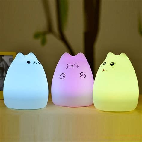 Lamp Touch Control by Cute Cat Usb Rechargeable Colorful Silicone Night Light