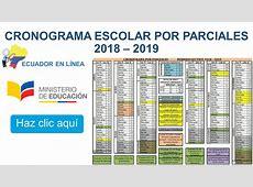 Cronograma Escolar por Parciales 2018 – 2019 Ecuador en Linea