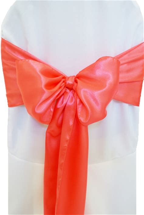 coral satin chair sashes bows ties wholesale
