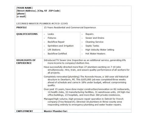 plumber resume template plumber resume