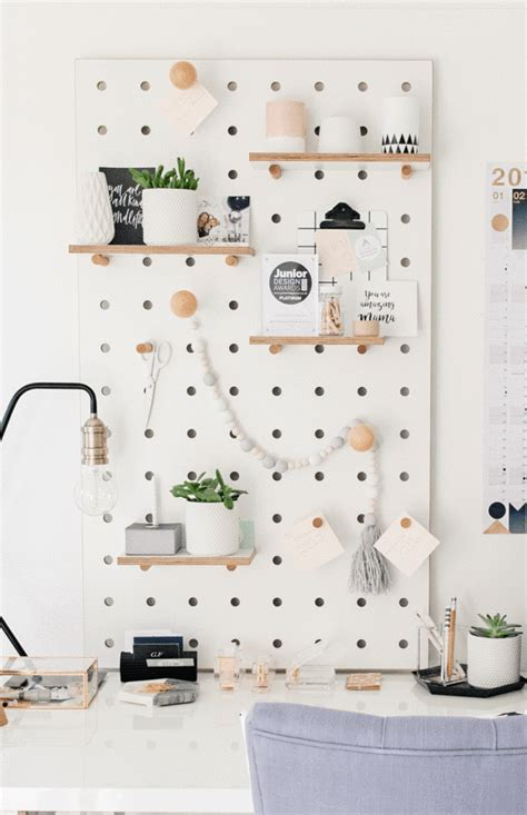 pegboard  shelves  pegs white  modern nursery