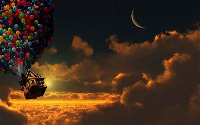 Pixar Moon Crescent Movies Balloons Clouds Background