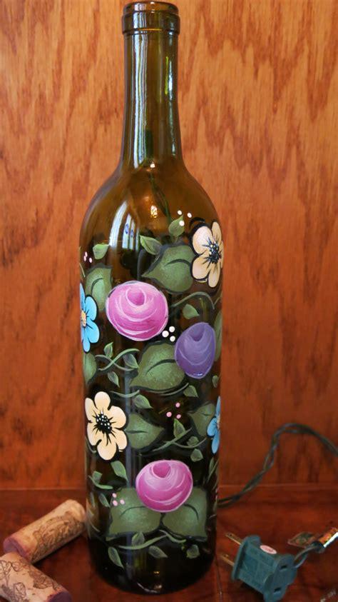 lighted wine bottles painted lighted wine bottle floral light bottle
