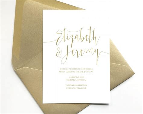 elegant gold wedding invitations script lettering