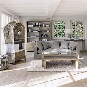 salon bois beige gris bord de mer naturel With ordinary meubles blancs style bord de mer 5 decoration chambre epure