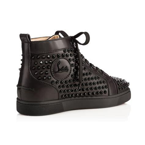 louis spikes mens flat black leather men shoes