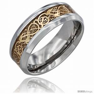 surgical steel celtic dragon wedding band ring gold color With ring gold wedding