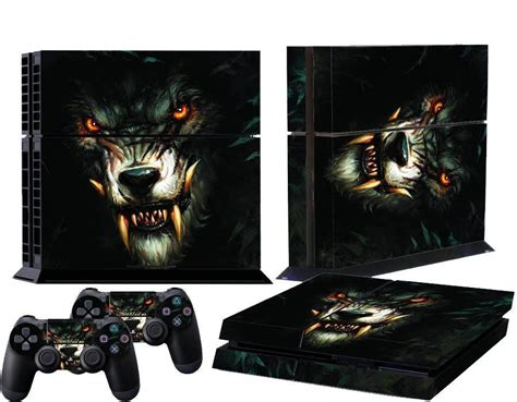 Black Wolf Glossy Decal Skin Sticker For Playstation 4 Ps4