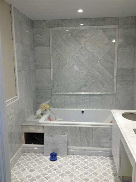 Edmonton Tile Install ? White Marble Bathroom   River City
