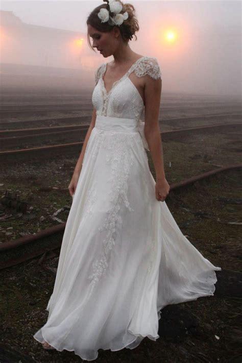 neck summer outdoor wedding dress lace cap sleeve