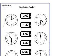 Match The Clocks Worksheet For 2nd  3rd Grade  Lesson Planet