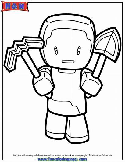 Minecraft Coloring Pages Steve Pickaxe Skin Skins