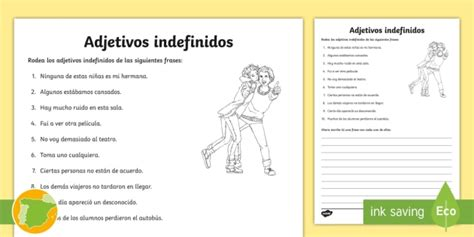 * New * Ficha De Actividad Los Adjetivos Indefinidos Gramática